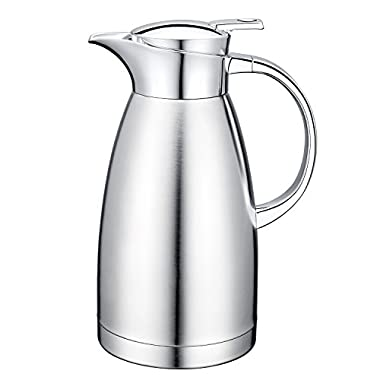 64 Oz 18/10 Stainless Steel Coffee Carafe Thermos Carafe Double Walled with press button Vacuum Carafe Insulated by Gabbay