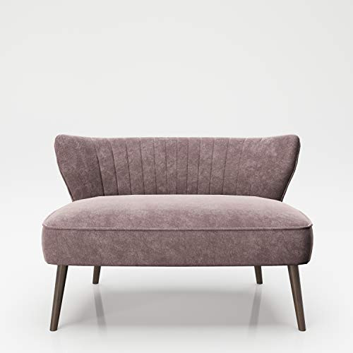 PLAYBOY Sitzbank / Lounge Loveseat mit bequemer Rückenlehne, Samtstoff in Rose Quartz, Sofa, Zweisitzer, 2er Sofa, Couch, Loungesessel, Retro-Design für Wohnzimmer & Lounge, Eingangsbereich, Rosa