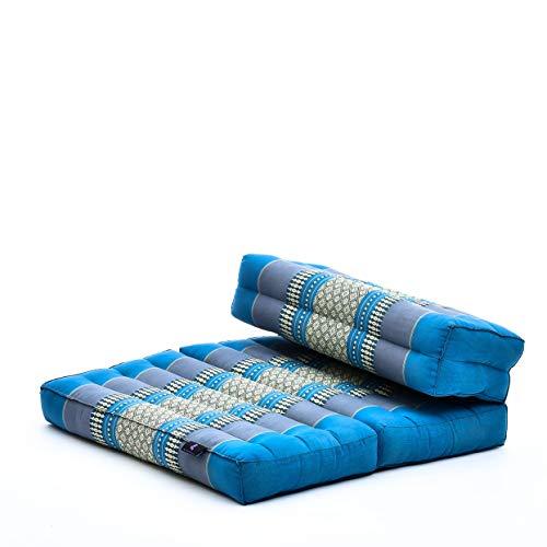 Leewadee Asiento de meditación – Almohadilla Plegable para Hacer Yoga, cojín para el Suelo de kapok ecológico Hecho a Mano, 54 x 72 cm, Azul Claro