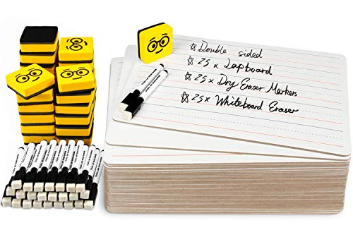 Double Sided Dry Erase Boards - Lined Plain, Ohuhu 25-Pack 9 x 12 Inch Whiteboards Set, Including 25 x Lap Board, 25 x Black Markers, 25 x White Boards Eraser for Students, Classroom, School
