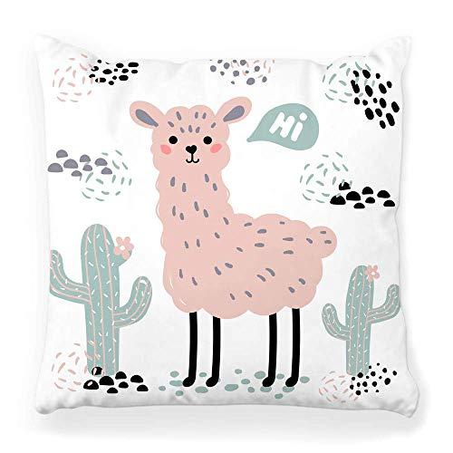 LXJ-CQ Throw Pillow Cover 18x18 Pink Lama Alpaca Wild Zoo Cute Cartoon...