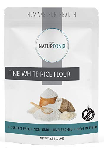 Naturtonix Fine White Rice Flour, 3 LB Resealable Pouch, Batch Tested and Verified Gluten Free, Non GMO and Certified Kosher, Product of the USA