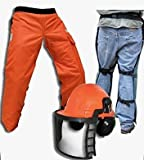 "Forester Chain Saw Safety Chaps 35"" Leg Plus Deluxe Safety Helmet"