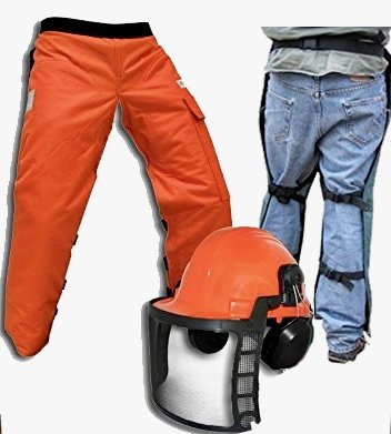 """Forester Chain Saw Safety Chaps 35"""" Leg Plus Deluxe Safety Helmet"""