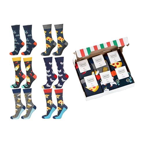 soxo Set de Calcetines de Colores para Hombres Regalo Empaquetado Pizza   talla 40-45   Calcetines Divertidos con Dibujos   Regalo Sorprendente para Familiares y Amigos   Algodón