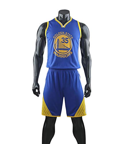 HS-XP Jersey De Baloncesto - Golden State Warriors # 35 Kevin Durant NBA Fans Boys Girls Ball Jerseys Kids, Sports Trajes De Camisa Chaleco + Top Spring Shorts Piece Set,Azul,3XL(Adult) 175~180CM