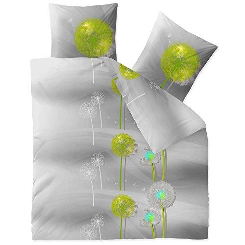 CelinaTex Fashion Bettwäsche 200x220 cm 3teilig Baumwolle Gisele Blumen Grau Grün Weiß