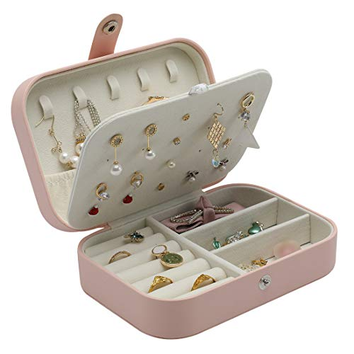 DerBlue Travel Jewelry Case,Small Jewelry Box,Portable Travel Jewelry Box Organizer Display Storage Case for Rings and Earrings