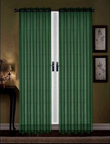 """Empire Home 84"""" Voil Sheer Window Curtain Panel Solid Color Drapes (Hunter Green)"""