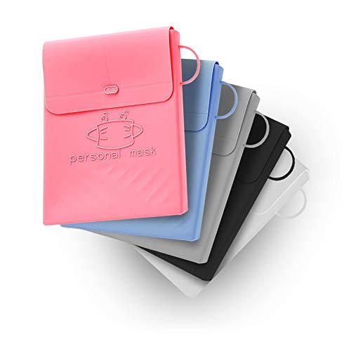 WizJoy 5 Pieces Foldable Silicone Mask Storage Case | Reusable Keeper Folder for Face Mask Cover | Portable Organizer Dustproof Clip | 5 PCS