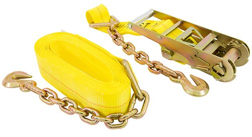 KEEPER (04655 27' x 3' Ratchet Tie-Down with Chain End and Grab Hook
