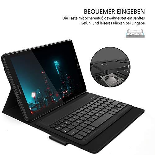 Jelly Comb Samsung Galaxy Tab A 10.1 Tastatur Hülle, Bluetooth Beleuchtete Tastatur mit Schützhülle für Samsung Galaxy Tab A 10.1 Zoll T580/T585, QWERTZ Deutsches Layout mit 7-farbige Beleuchtung