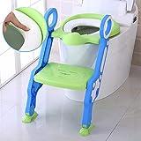 Siège de Toilette Enfant Reducteur de Toilette Pliable et Réglable Escalier Toilette Enfant avec Échelle Marche Réducteur de WC pour enfants 1-7 ans (Bleu-Vert)