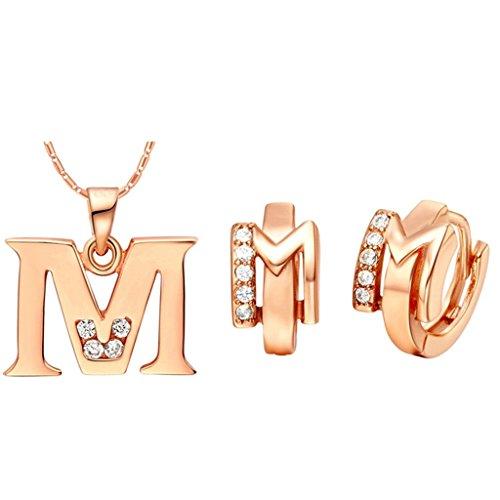 AnazoZ Fashion Sieraden Eenvoudige Persoonlijkheid Rose Goud vergulde Vrouwen Sieraden Set (Necklace Oorbel Set) Letter M Hanger Wit Kristal CZ