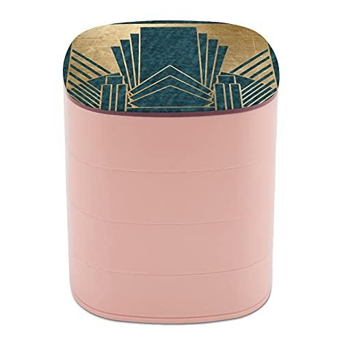 Ruotare il portagioie portagioie portagioie a 4 strati, girevole a 360 gradi, custodia creativa per anelli, orecchini, collane, spille, bigiotteria, stile Art Deco Glamour foglia di tè e oro
