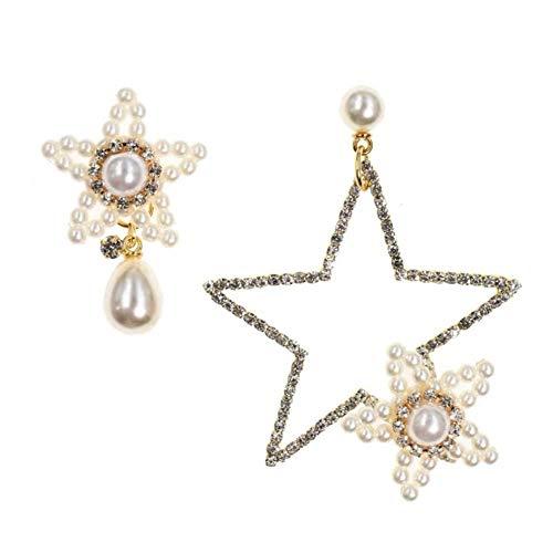 Yhhzw Pendientes De Diamantes De Imitación De Perlas De Pentagrama Exagerado De Joyería Brillante De Moda Clásica Para Regalo De Mujer