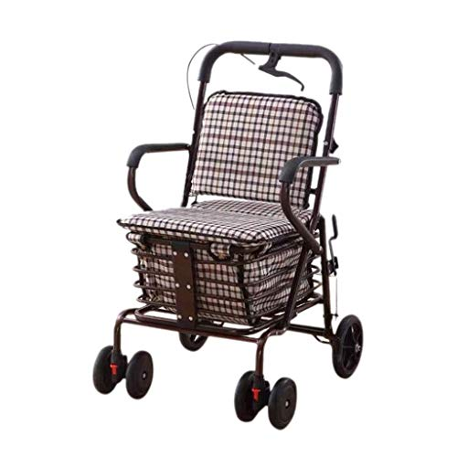 Shopping Trolley, Folding Walking Elderly Man With Seat Shopping Cart, Walkers For The Elderly, Suitable For Heights Below 158 Cm, Load 100 Kg