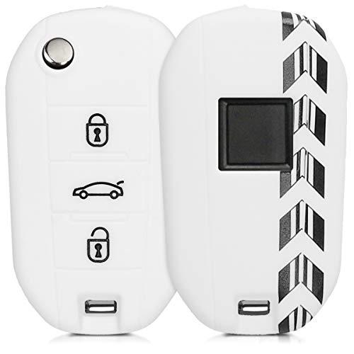 Preisvergleich Produktbild kwmobile Autoschlüssel Hülle für Peugeot Citroen - Silikon Schutzhülle Schlüsselhülle Cover für Peugeot Citroen 3-Tasten Klapp Autoschlüssel Rally Pfeil Streifen Design Schwarz Weiß Weiß