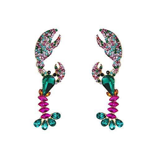 QYMX Ohrring Frauen, Harz Kristall Hummer Charme Baumeln Ohrringe Für Frauen Modeschmuck Trendy Maxi Aussage Ohrringe Zubehör