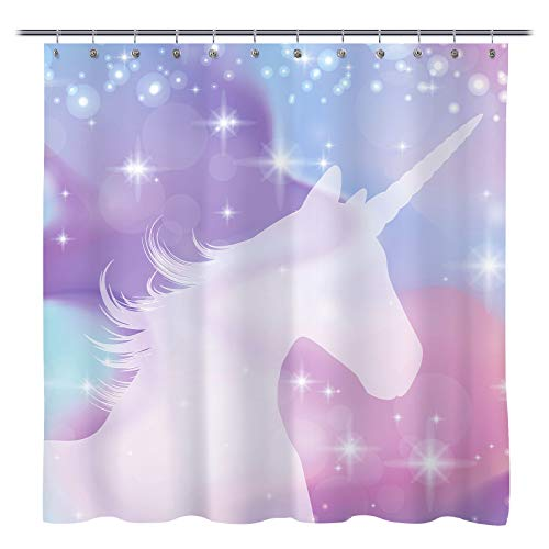Sunlit Designer Colorful Magical Unicorn Fabric Shower Curtain Legendary Myth Creature with Stars Dream Print for Kids and Girls Bathroom and Party Decoration