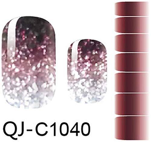 BOLANA Nagellack Sticker Farbverlauf Streifen Nagel Wickel Fall Nagelkunst Aufkleber Selbstklebend Weihnachten Stil Sticker - C1040, 1 Set