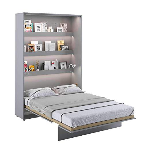LENART Bed Concept - Cama plegable vertical (140 x 200 cm), color gris