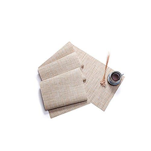 Treestar PVC Table Tapis antidérapant en bambou veines Tissage Napperon Désir Isolation Drapeau de table sur mesure pour les fêtes de table de salle à manger pique-nique, PVC, beige, 135×30cm