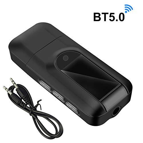 Abafia LCD-Display Bluetooth-Sender V5.0, 2-in-1-Bluetooth-Sender und -Empfänger, geeignet für Mobiltelefone/Fernseher/PC/Lautsprecher, HiFi-Klangqualität, große Lautstärke und geringes Rauschen