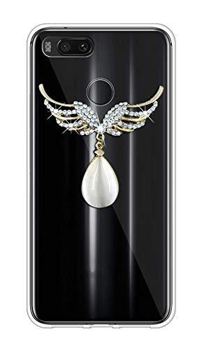 Sunrive Kompatibel mit Huawei nova 2 Plus Hülle Silikon,Glitzer Diamant Strass Transparent Handyhülle Schutzhülle 3D Etui handycase Hülle (Flügel Edelstein) MEHRWEG