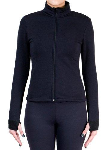 ny2 Sportswear Figure Skating Polar Fleece Fitted Jackets by Polartec J1010 (Black, Adult Medium)