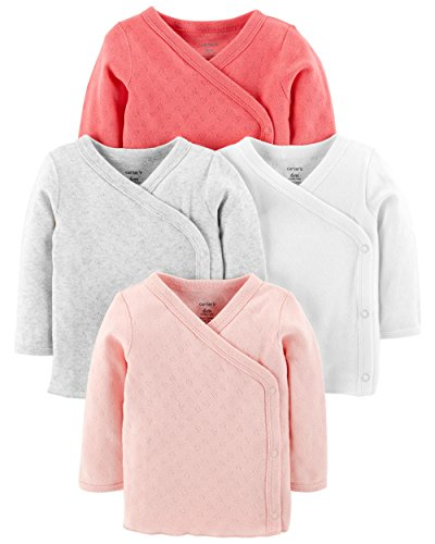 Carter's Baby Girls' 4-Pack Side-Snap Tees (Pink Pointelle, 6 Months)