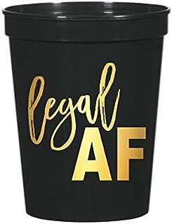 Legal AF Cups, Set of 10 Legal AF Cups, 21st Birthday Party, Stadium Cups, 21st Birthday Party Decoration, Legal AF