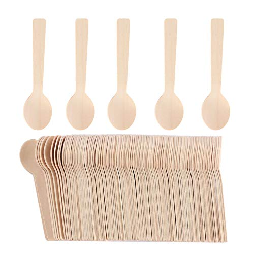 OurLeeme 100 unids cuchara desechable de madera natural mini