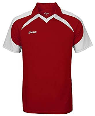 ASICS Men's Athletic Rotation Jersey (Small, Cardinal/White)