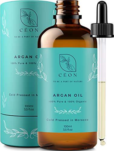 CÉON® - PREMIUM Arganöl BIO & VEGAN - 100{abe4425729471eee2cb20dc56e92489219996178e0952fef249fd94faf9f4689} rein und kaltgepresst - 100ml bio arganöl Haaröl - optimal für Haarpflege, Haare, Gesicht, Haut & Nägel - Argan Öl - Anti-Aging - Feuchtigkeitspflege