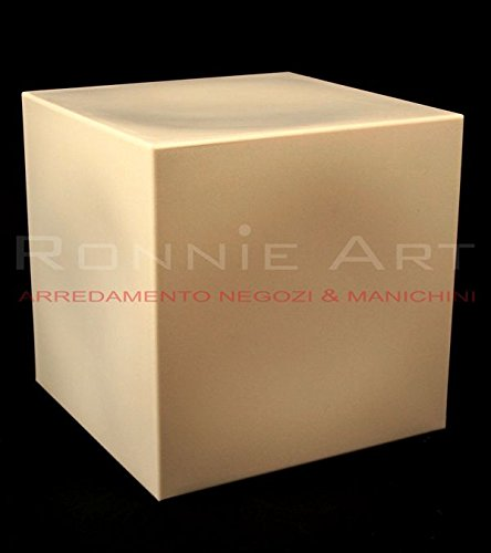 RONNIEART Kubus aus Kunststoff Elfenbein farbige Würfel Hocker Base Beistelltisch Sitz Stuhl Hocker 40x 40x 40cm