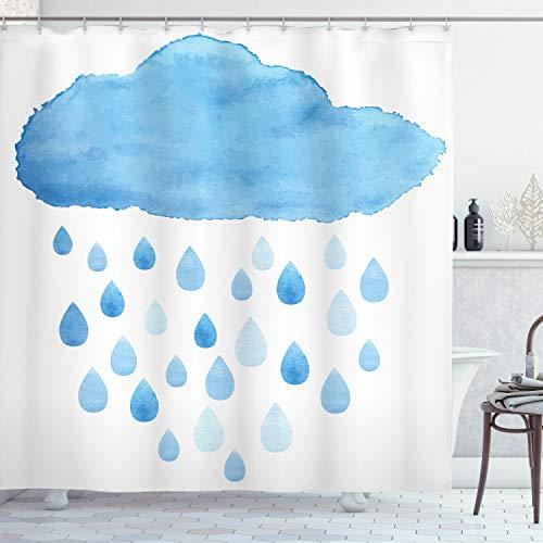 ABAKUHAUS Naturaleza Cortina de Baño, Gotas de Lluvia y la Nube, Material Resistente al Agua Durable Estampa Digital, 175 x 200 cm, Azul Blanco