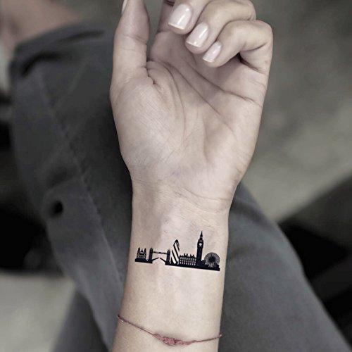 London Skyline Temporary Fake Tattoo Sticker (Set of 2) - www.ohmytat.com