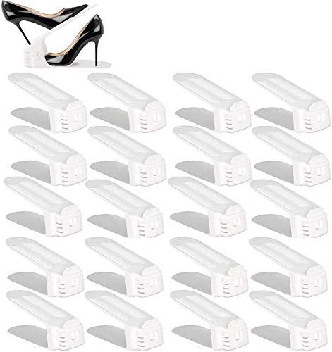 BIGLUFU Shoe Slots Organizer, Adjustable Shoe Stacker Space Saver, Double Deck Shoe Rack Holder for Closet Organization (20 Pack)(White)