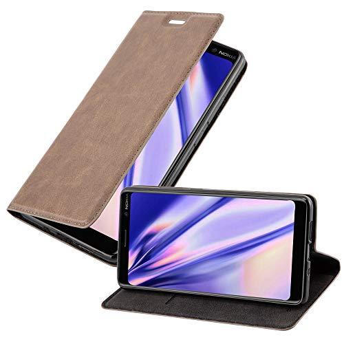 Cadorabo Hülle für Nokia 7 Plus in Kaffee BRAUN - Handyhülle mit Magnetverschluss, Standfunktion & Kartenfach - Hülle Cover Schutzhülle Etui Tasche Book Klapp Style