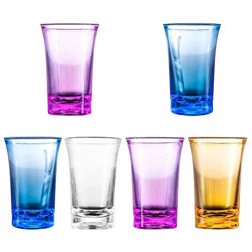 Wopohy Set di 6 bicchierini da liquore rotondi da 1,2 once con base pesante, tequila vodka Glasses Bar Whisky, bicchieri trasparenti ideali per feste, ristoranti, eventi