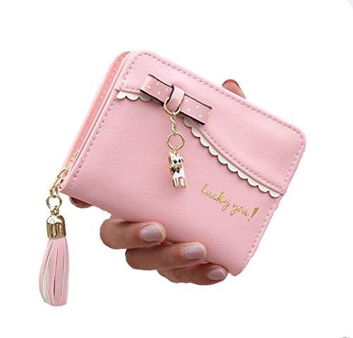 SINNODA Geldbörse Damen Klein Portemonnaie Katze Geldbeutel mit Reißverschluss Kartenetui Kleine Geldtasche Quaste Portmonee für Frauen und Mädchen (Rosa)