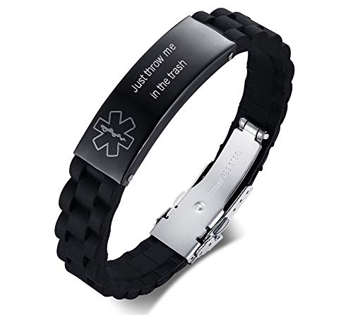 MEALGUET Silicone Comfort Medical Alert ID Bracelet Just Throw Me in The Trash Engraved Medic ID Chain Bracelets for Men or Women
