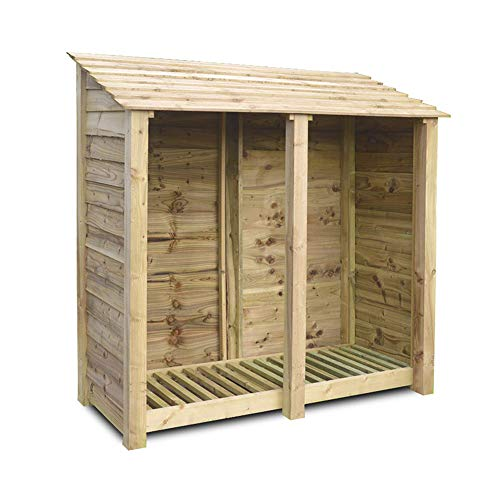 Rutland County Garden Furniture Hambleton 6 ft Tall Log Store/Garden Storage Heavy Duty Pressure Treated Timber With Forward Sloping Roof (Solid Log Store Only, Light Green)
