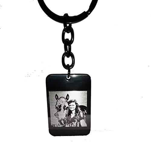 Schmuck-Depot Schlüsselanhänger Edelstahl PVD Beschichtet schwarz (Edelstahl) mit Gravur vom Foto (Einseitig)