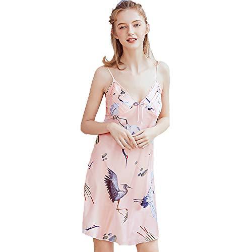 Camisón para Mujer, Pijama Sexy de Seda de Hielo Satinado Señoras de Encaje Grúa Tirantes Camisón Servicio a Domicilio,Rosado,M
