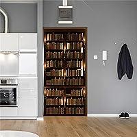 ドアデカール3D レトロな本棚ステッカー寝室のドア家の装飾壁紙ライブラリ研究室さまざまなサイズ-77cm(W)*200cm(H)