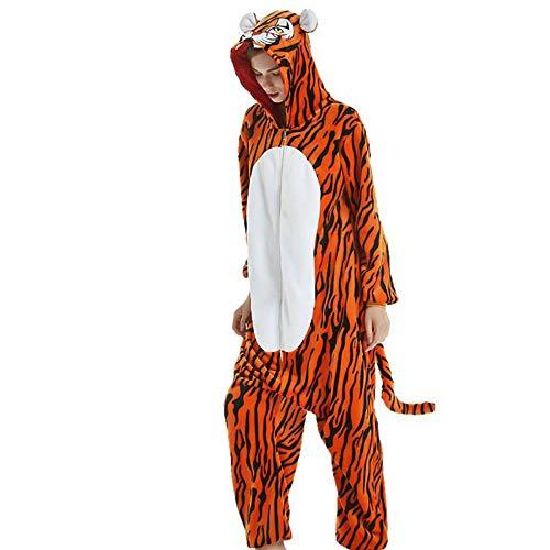Mallalah Mujer Combinación Set Pijamas Ropa de Dormir de Navidad Elk Tigre Lindo Durmiente Algodón Grueso Otoño Invierno Señora Hombre Pijamas de Franela Size S (Tigre)