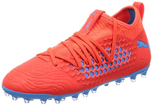 PUMA Unisex Future 19.3 Netfit MG Jr Fußballschuhe, Rot (Red Blast-Bleu Azur), 37 EU