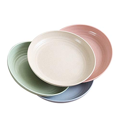 8.8' Extra Large Wheat Straw Plates, 4 PCS Lightweight Unbreakable Dinner Plates with Dishwasher Microwave Safe, Reusable Dishes for Kids, Children, Toddler, Adult